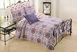 Amazon.com: Cynthia Rowley 3pc Quilt Set Red Blue White Cotton ... & Amazon.com: Cynthia Rowley 3pc Quilt Set Red Blue White Cotton, Floral  Medallions Girl Bedding Twin Quilt & Sham Set: Baby Adamdwight.com