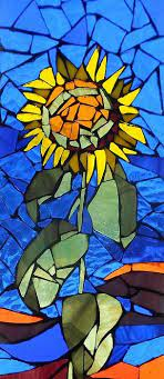 mosaic stained glass sunflower by