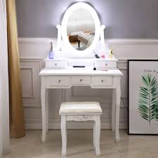 White Vanity Table With Lighted Mirror Details About 10 Led Lighted Mirror Vanity Table Set Makeup Dressing Desk 5 Drawers Wood