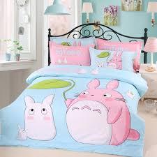 description my neighbor ro bedding set pink and sky blue bed linen cartoon cotton