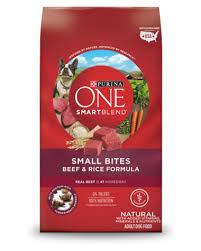 Purina One Smartblend Small Bites Beef Rice Formula Adult Premium Dog Food