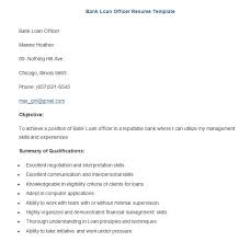 Sample Bank Loan Officer Resume Template