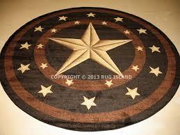 round texas lone star rustic cowboy western black brown area rug free