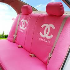 name luxury oulilai chanel universal automobile car seat cover sandwich 18pcs sets pink