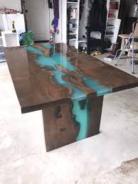Maple Live Edge Table With Turquoise Epoxy Furniture Slab Maple