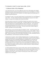 A Footnote To Youth Philippines Fiction Literature
