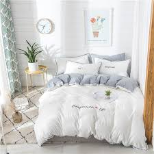 100 white grey cute girls bedding sets soft bedclothes king queen size duvet cover bed sheet linens set pillowcase gray comforter sets cabin bedding