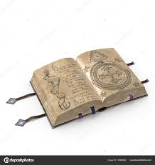 magical open book leather bind stock photo