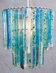 titania sky blue and white small handmade recycled glass chandelier