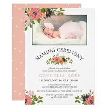 Sweet Fall Flowers Naming Ceremony Photo Invitation