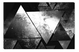 black and white abstract canvas wall art pyramids glowing in the dark 60 x 90 cm