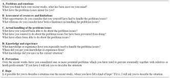 prioritising downplaying and self preservation processes themes in the semi structured interview guide and examples of questions