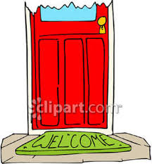 front door clipart. A Front Door With Welcome Mat - Royalty Free Clipart Picture