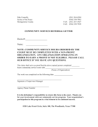 Court Ordered Community Service Letter Sample Hours Resume Cover