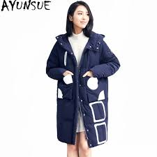 ayunsue 2018 womens down jackets hooded white duck winter coat padded warm women parka casual female