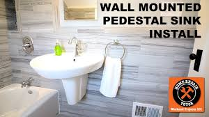 how to install a wall mounted pedestal sink step by step