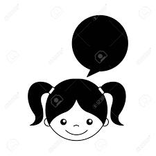 音声バブル文字アイコン ベクトル イラスト デザインとかわいい女の子