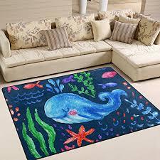 naanle sea ocean life area rug 5 x7 cute whale starfish cs polyester area