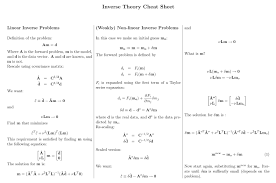 inverse theory cheat sheet