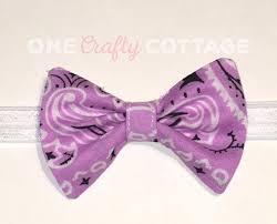 Hair Bow Purple And White Paisley Fabric Stretchy Headband