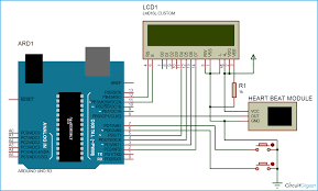 arduino based heart rate monitor project arduino based heartbeat counter circuit diagram