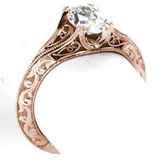 unique rose gold enement ring in virginia beach features hand formed filigree curls and hand carved