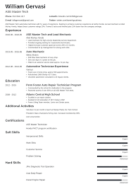 Technology Skills On Resumes Mechanic Resume Sample Complete Writing Guide 20 Examples