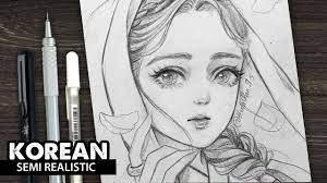 VẼ CÔ GÁI HÀN QUỐC | Phong Cách Semi Realistic | Drawing, Ý tưởng vẽ, Anime
