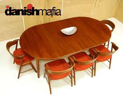mid century danish modern oval henning kjærnulf teak table 1
