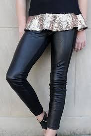 girls leggings w faux leather front black