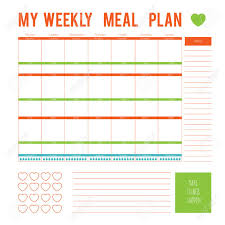 Meal Plan For A Week Calendar Page Vector Printable Boxes