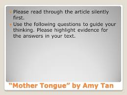 coming to america week ppt video online mother tongue by amy tan