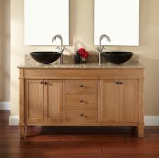 Bathroom Traditional Double Sink Vanity And Oak Wooden Cabinets - Oak bathroom vanity cabinets