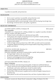 Resume Outlines Examples Resume Sample Assembly And Production