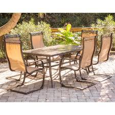 agio spring sling 7 piece dining set. home \u003e outdoor living dining sets monaco 7-piece set with six c-spring chairs and agio spring sling 7 piece -