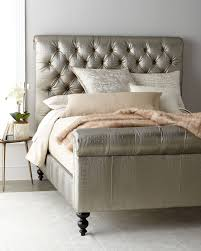 jesse faux leather tufted king bed