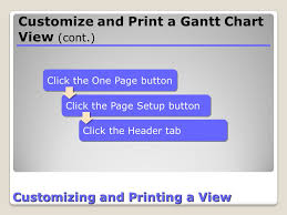 How To Print Gantt Chart In One Page Project Information Customizing And Printing Lesson Ppt