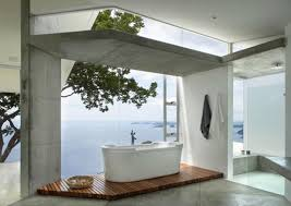 bathroom with glass wall making room more comfortable