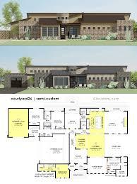 contemporary courtyard house plan 61custom side courtyard floorplan