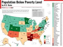 Texas Poverty Level Chart Population Below Poverty Level By U S State Factsmaps