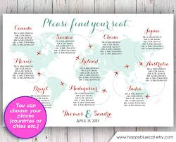 Wedding Seating Chart Rush Service World Map Plane
