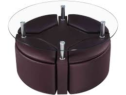Round Glass Coffee Table With Stools Roselawnlutheran - Coffee table with chair