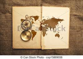 old open book with p and world map csp15869038