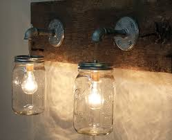 for the barn mason jar 2 light fixture rustic reclaimed barn wood mason jar hanging light fixture made in america primitive bathroom vanity