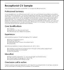 Sample Of Resume For Receptionist Sample Resume Of Receptionist