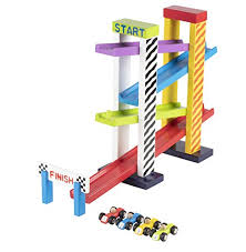 juvale car ramp race track toy set 4 level racing ramp with 4 wooden mini racer cars multicolored and pre assembled for kids and toddlers