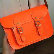 the cambridge satchel company neon orange leather bag luxury bags wallets on carou