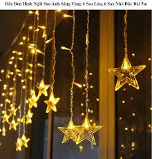 Dây đèn ngôi sao lớn vàng Đèn LED dây trang trí hình ngôi sao. Dây Đèn Hình Ngôi  Sao Ánh Sáng Vàng 6 Sao Lớn 6 Sao Nhỏ Dây Dài 5m