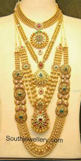 10 Tola Gold Set Designs Malabar Gold Antique Necklace And Gundla Mala Collections