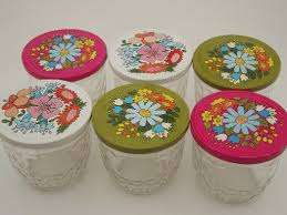 Ball quilted crystal glass jelly jars w/ retro flower print lids & Vintage Ball quilted crystal glass jelly jars w/ retro flower print lids Adamdwight.com